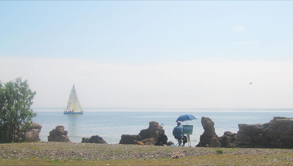 Måla vid stranden på Gotland